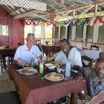 James , Mr Piggy and Zorro at Eula's Beach Restaurant