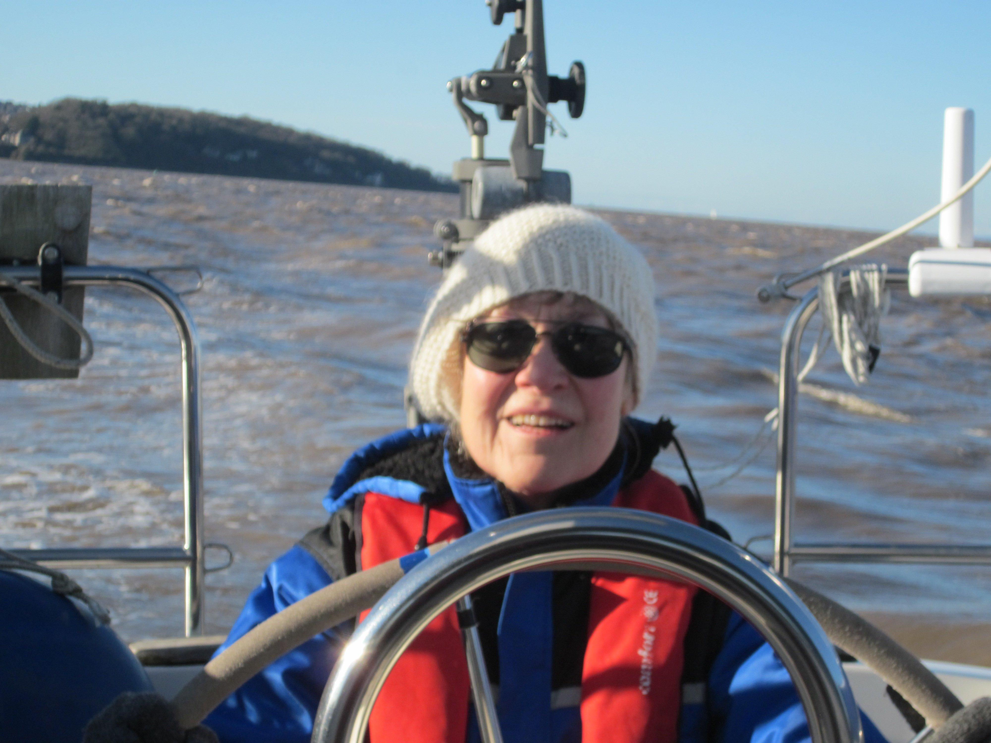 Karen helming in the channel