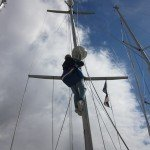 Chris up the mast 001