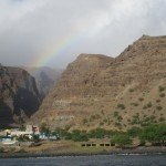 Rainbow opposite our anchorage off Tarrafal outskirts